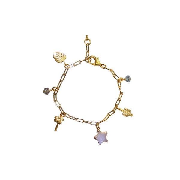 Divine Love Pear and Druzy Charm Bracelet by Tiana Jewel