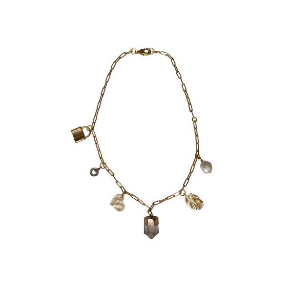 Divine Love Clear Quartz Gemstone Charm Necklace by Tiana Jewel