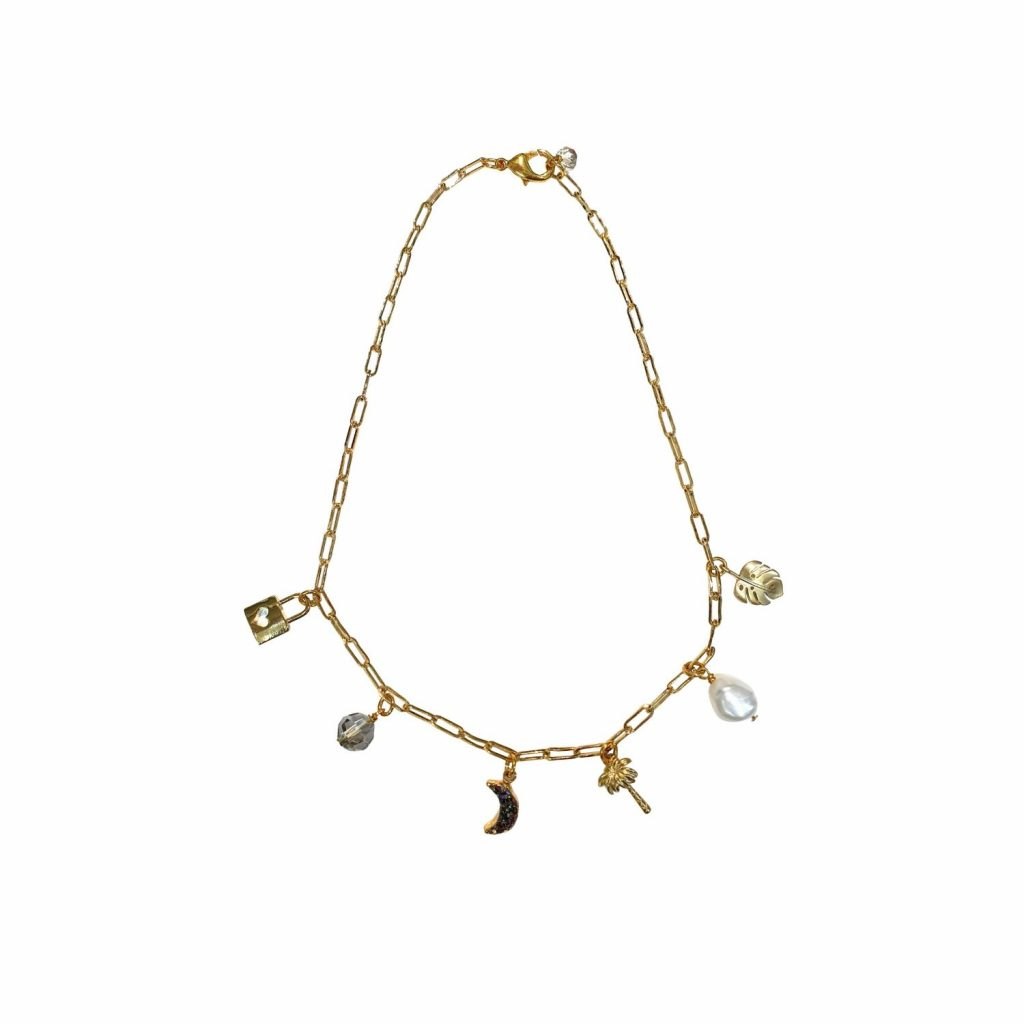 Divine Love Delicate Pearl Charm Necklace by Tiana Jewel