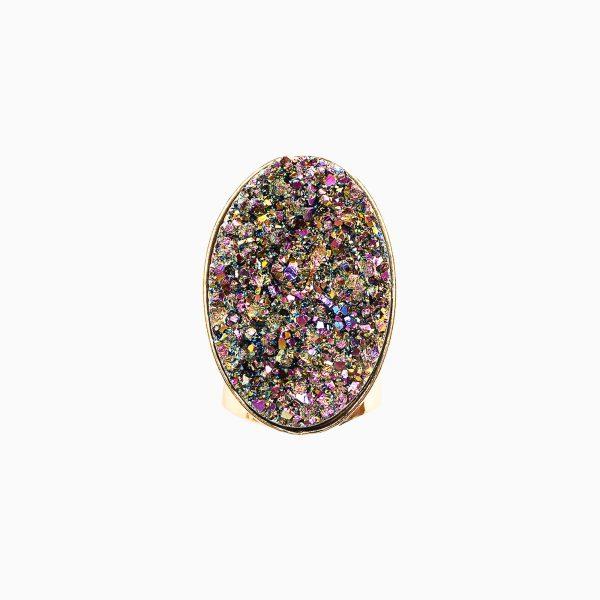 Divine Love Oval Rainbow Metallic Ring by Tiana Jewel