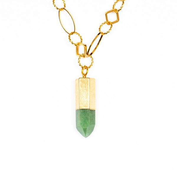 Zest for Life Green Quartz Bullet Point Necklace by Tiana Jewel