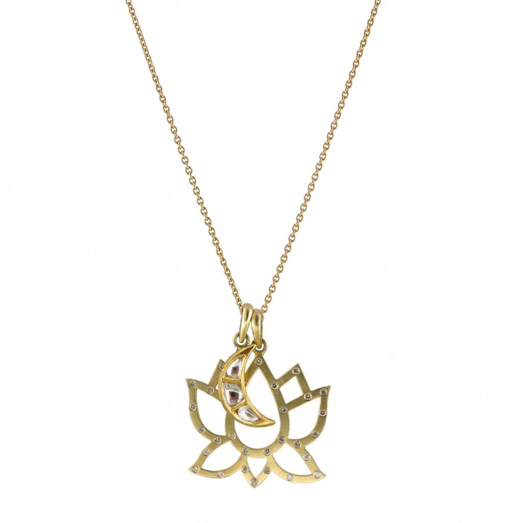Large Diamond Lotus with Polki Moon Necklace by Sophie Theakston