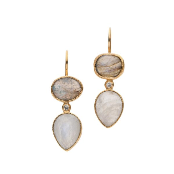 Jaipur Labradorite and Moonstone Earrings by Donatella Balsamo