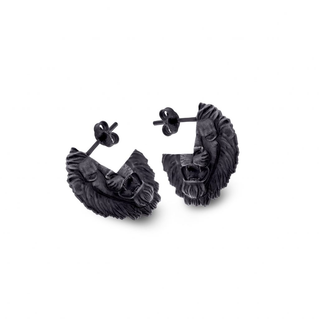 Black Lion Stud Earrings by Harriet Morris
