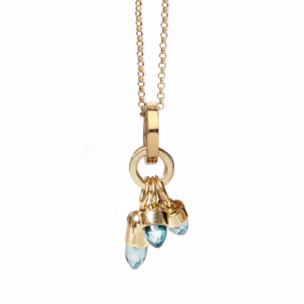 Skopelos Charm Necklace Aqua Blue Quartz by Maviada
