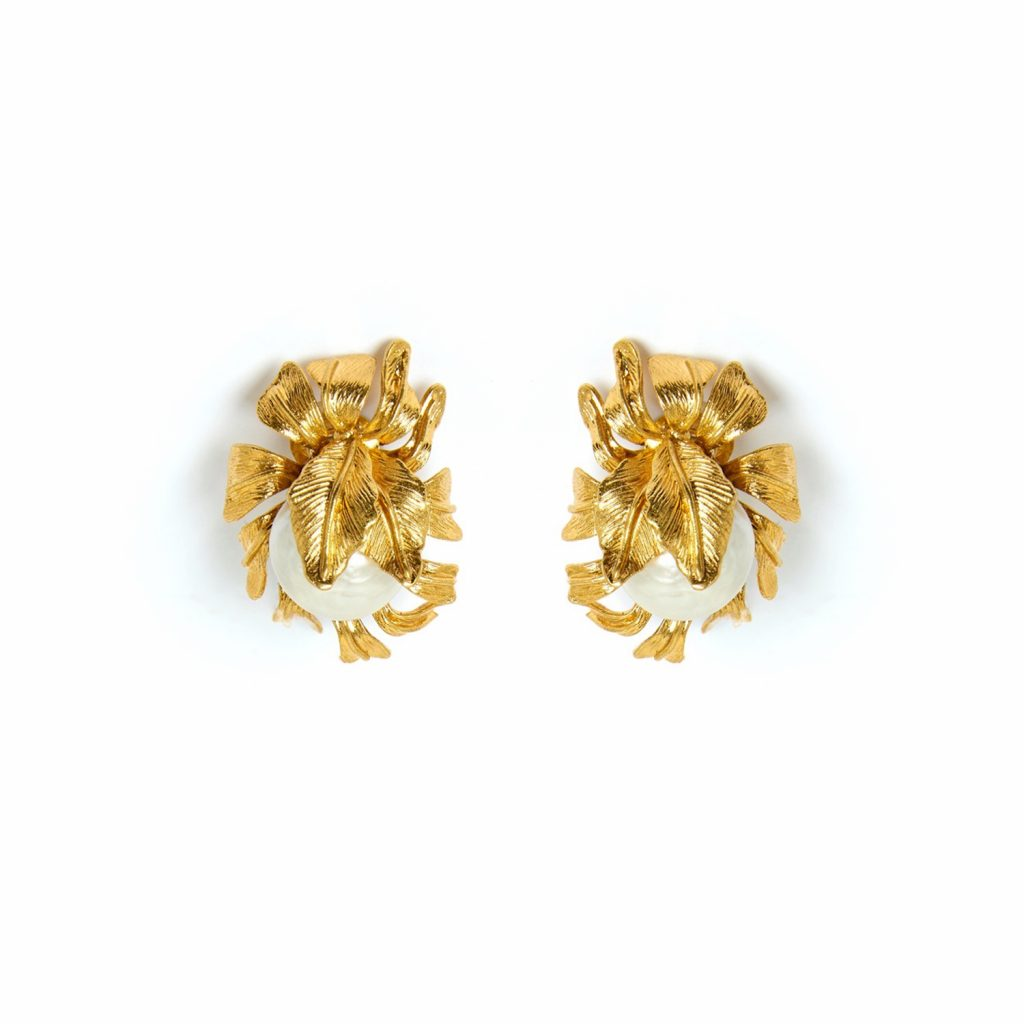 Moon Flower Earrings in Gold by Sonia Petroff