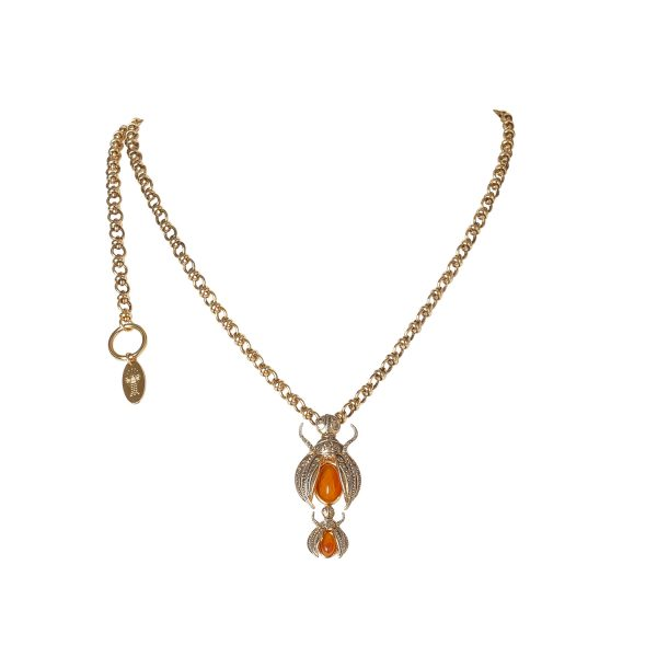 Scarab Necklace in Gold by Sonia Petroff