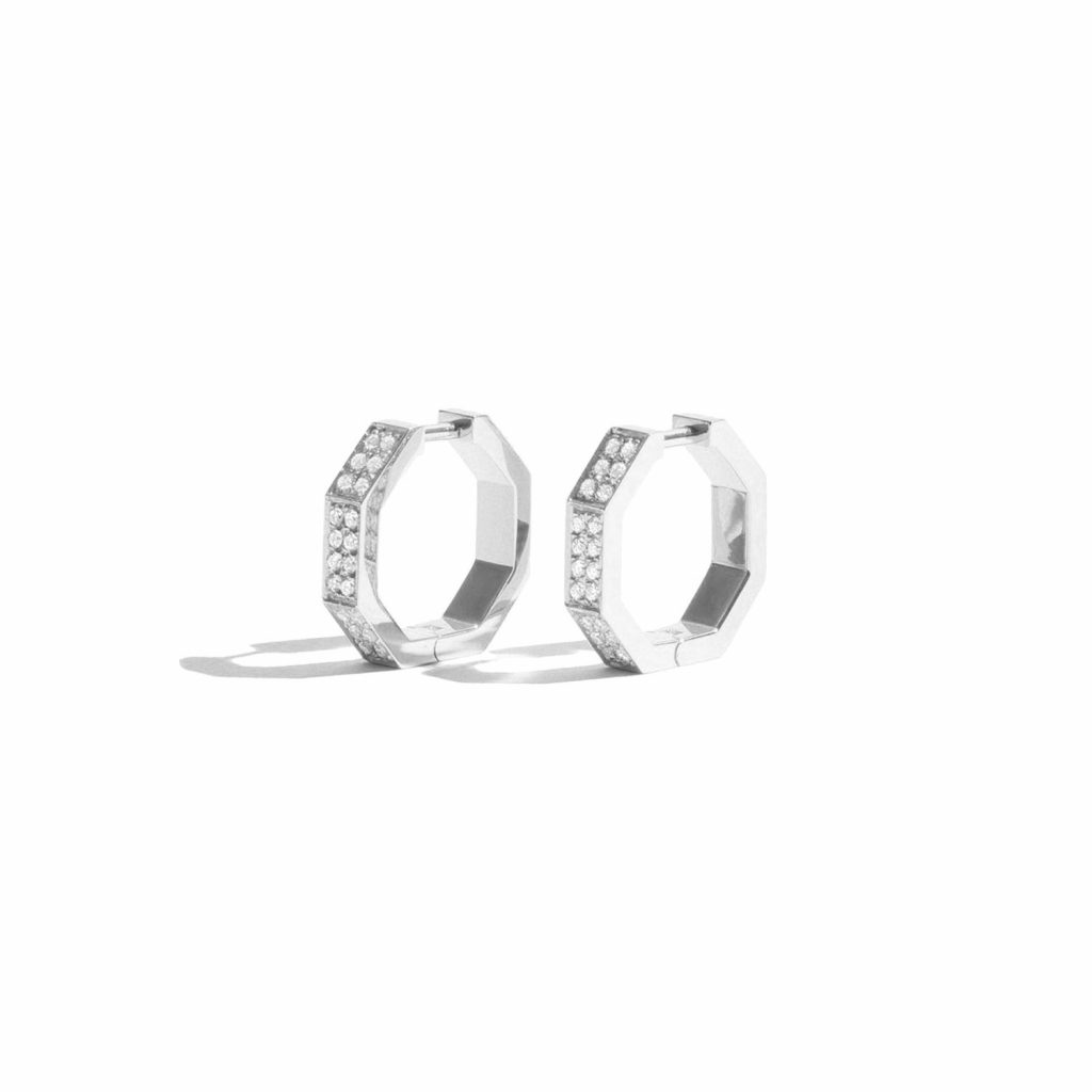 Octogone Earrings White Gold by Jem