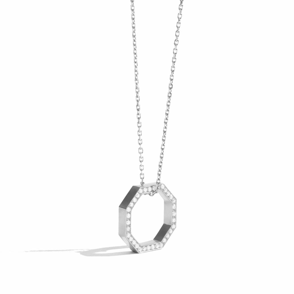 Octogone Necklace White Gold by Jem