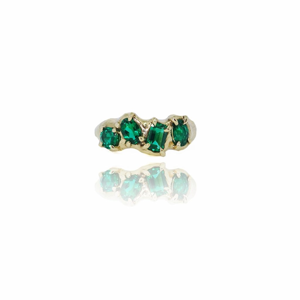 Lab Emerald Multiset Ring by Susannah King
