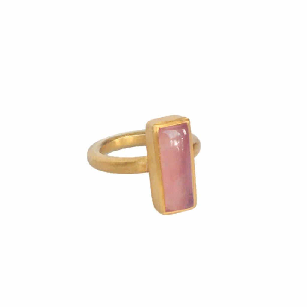 Jaipur Pink Jade Stacking Ring by Donatella Balsamo