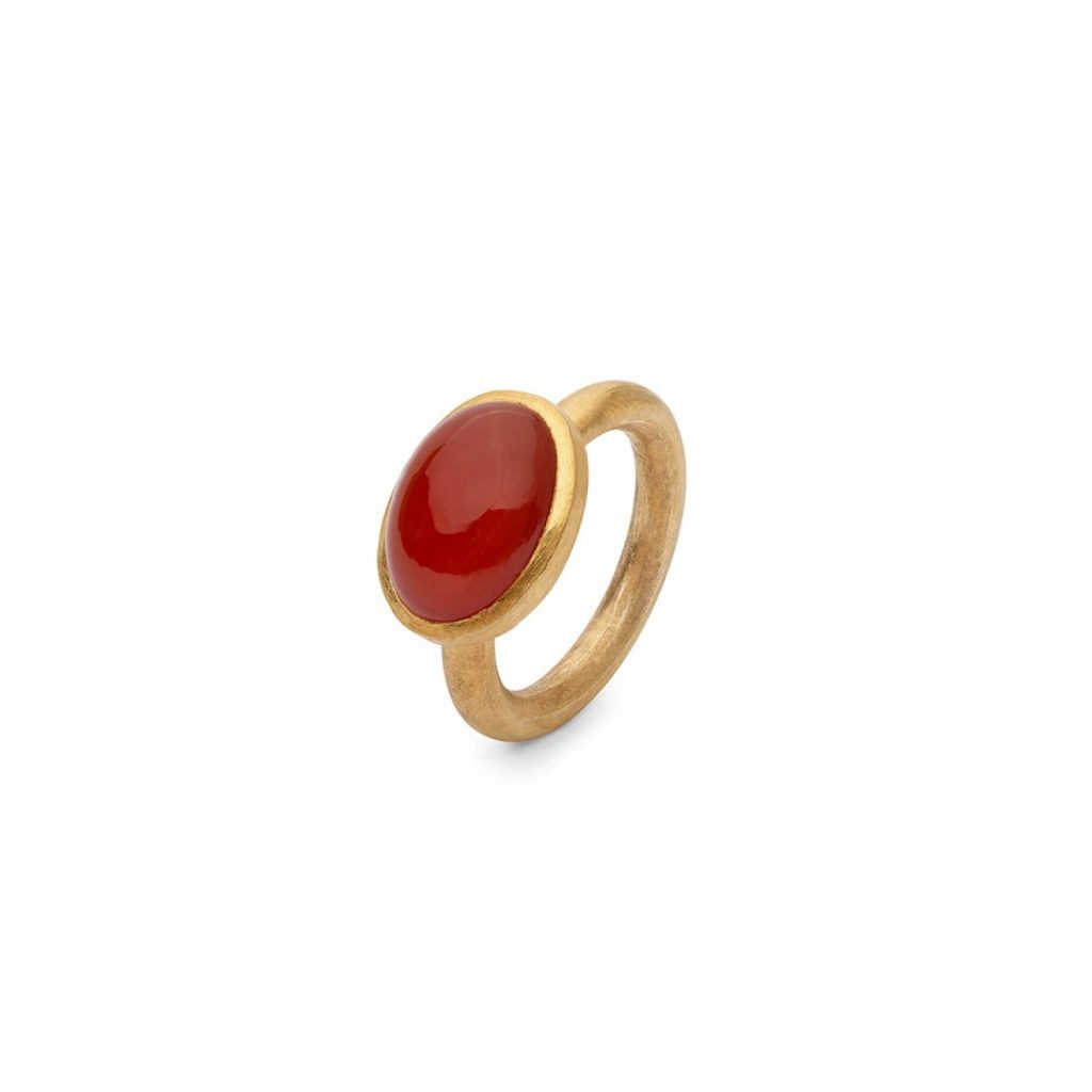 Jaipur Red Cabochon Stacking Ring by Donatella Balsamo