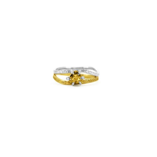 Yellow Trilliant Tourmaline Nest Ring by Julia Thompson