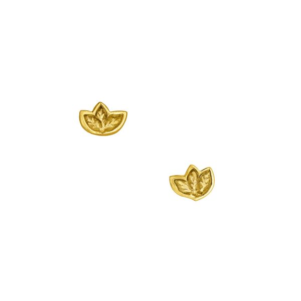 Fairtrade Yellow Gold Leaf Stud Earrings by Julia Thompson