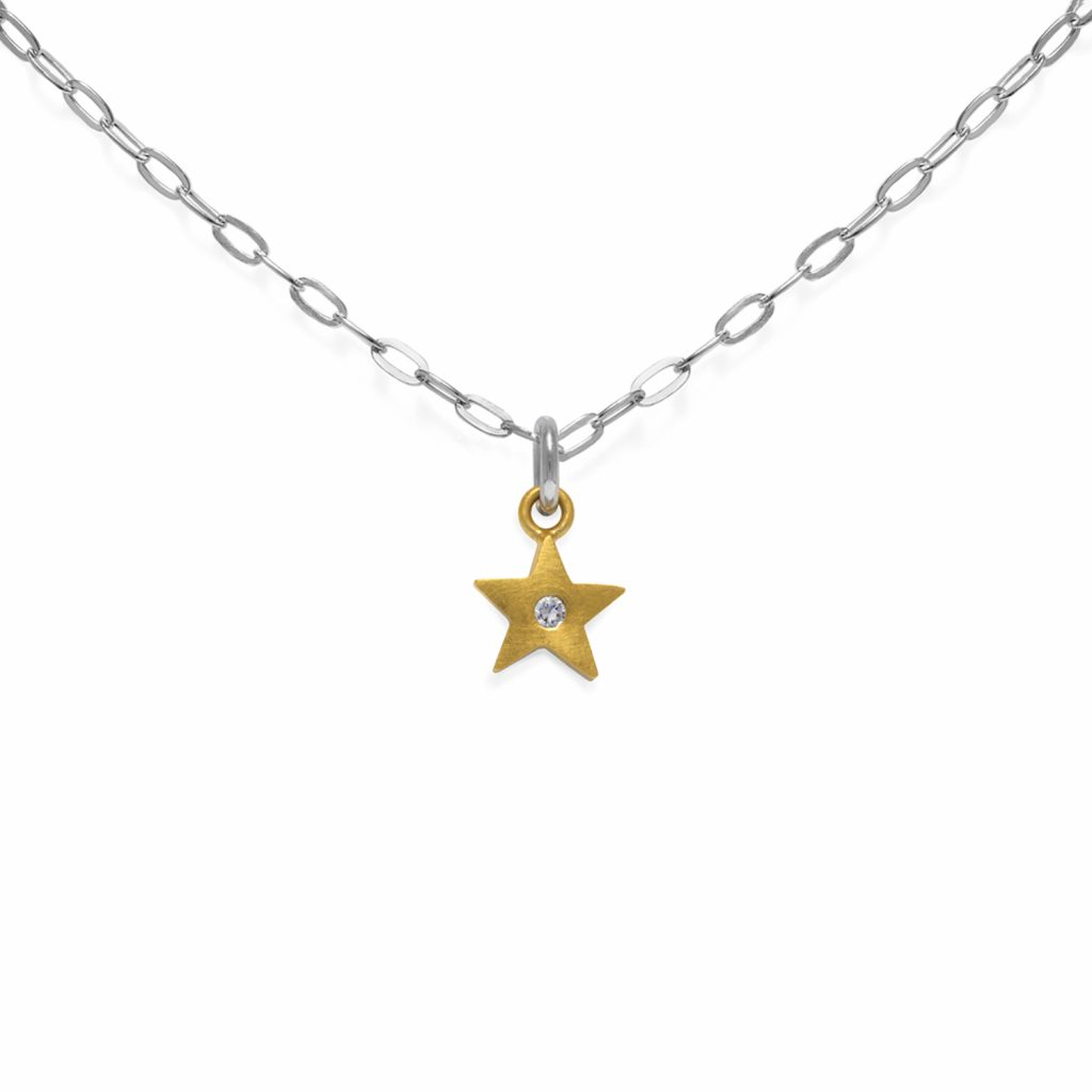 White Sapphire Star Pendant Necklace by Julia Thompson