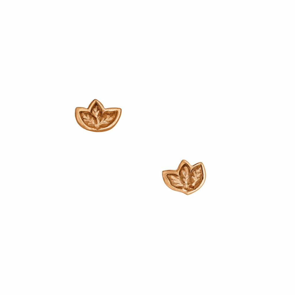 Fairtrade Rose Gold Leaf Stud Earrings by Julia Thompson