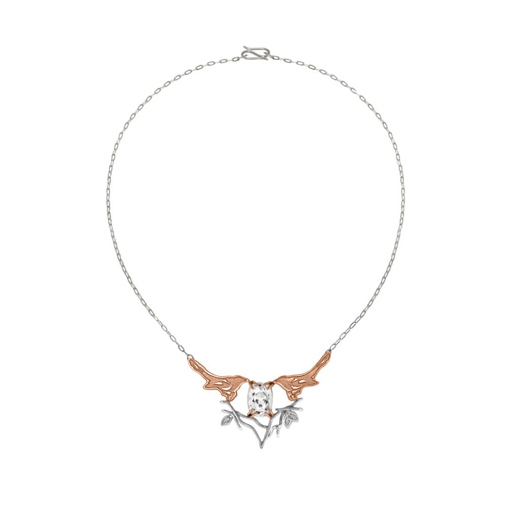 Fairtrade Rose Gold Magpie Topaz Necklace by Julia Thompson