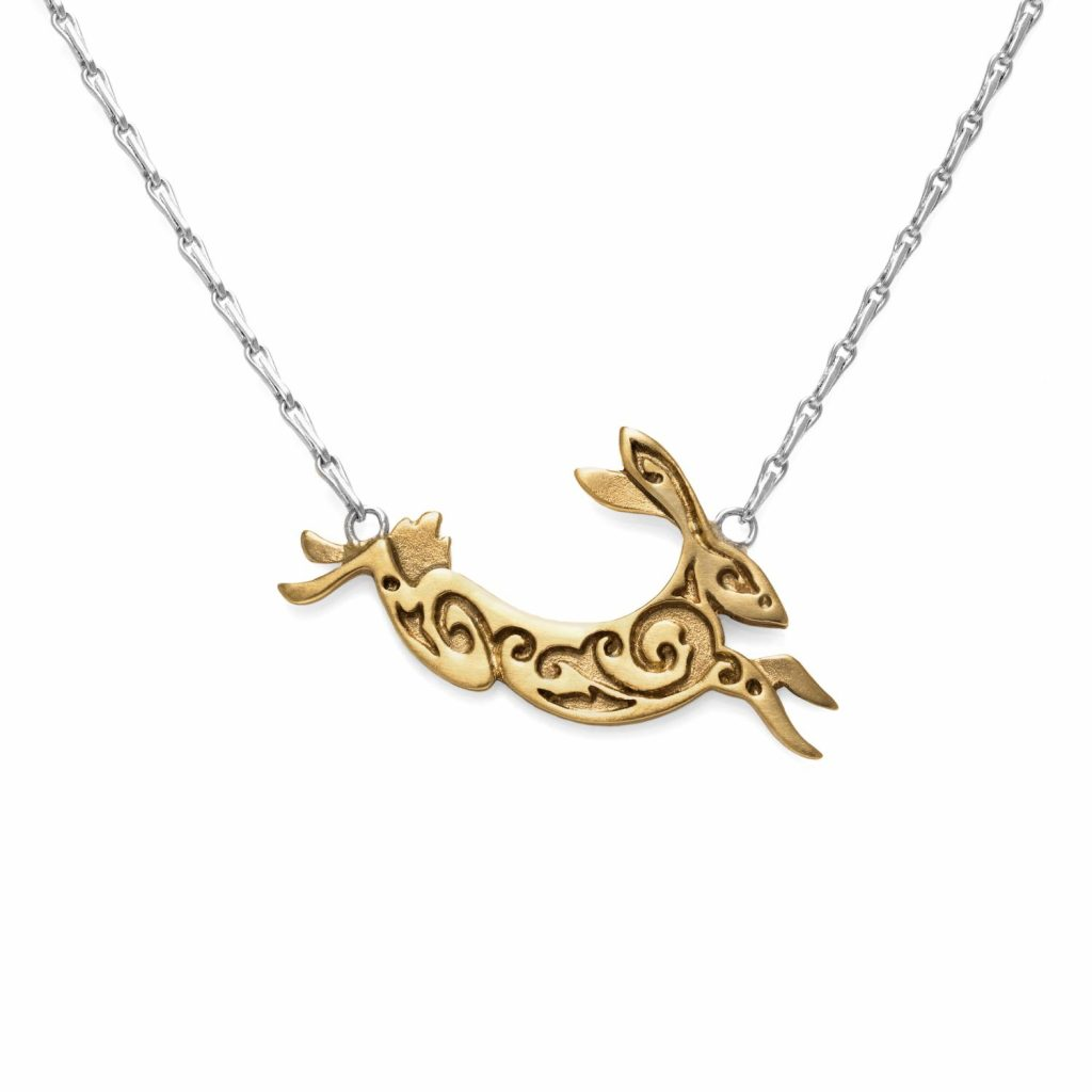 Fairtrade Yellow Gold Hare Necklace by Julia Thompson