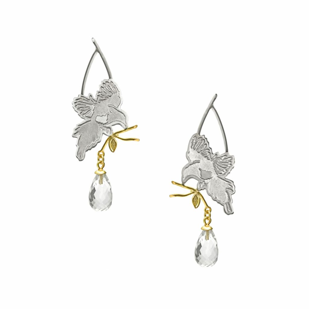 Magpie in Flight Quartz Drop Earrings by Julia Thompson