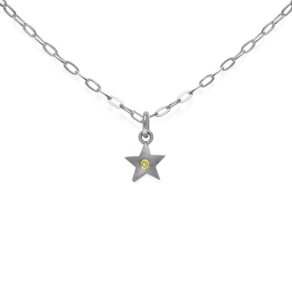 Yellow Sapphire Star Pendant Necklace by Julia Thompson
