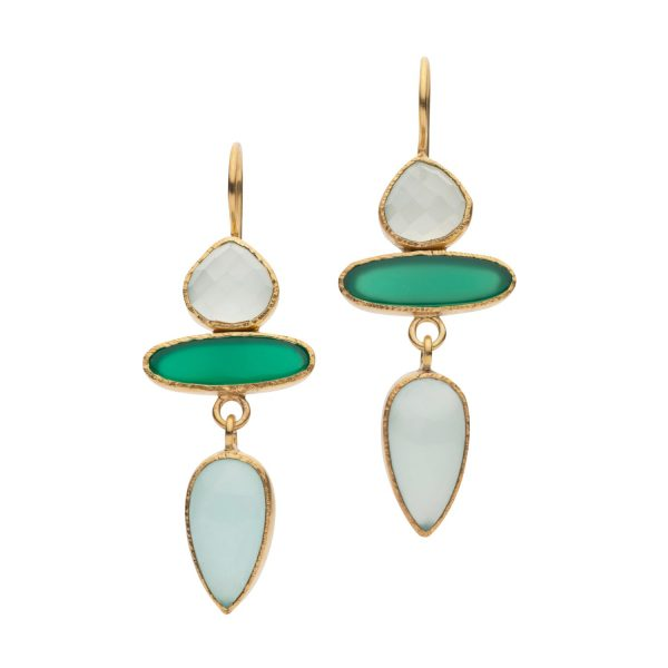 Jaipur Chalcedony and Onyx Drop Earrings by Donatella Balsamo