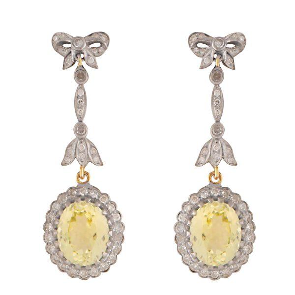Art Deco Lemon Quartz and Diamond Earrings by Kastur Jewels