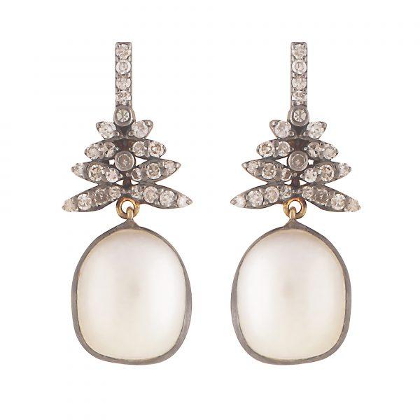 Delicate Diamond and Pearl Drop Earrings by Kastur Jewels