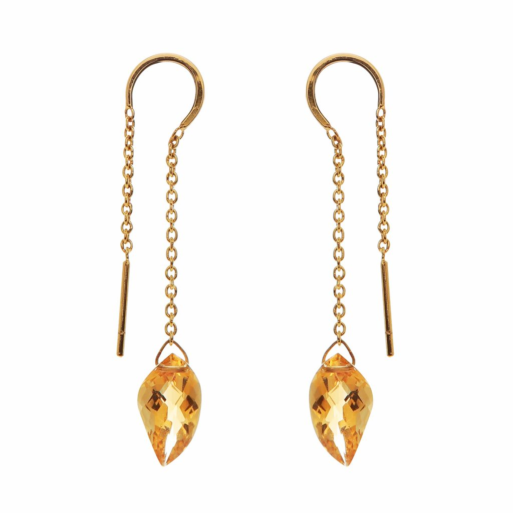 Elegant Citrine Earrings by Kastur Jewels