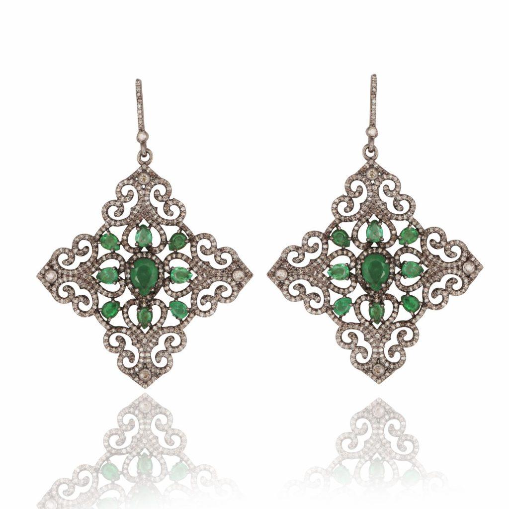 Emerald and Diamond Mughal Geometric Cocktail Earrings by Kastur Jewels