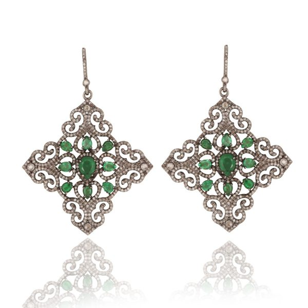 Emerald and Diamond Mughal Geometric Cocktail Earrings by Kastur Jewels