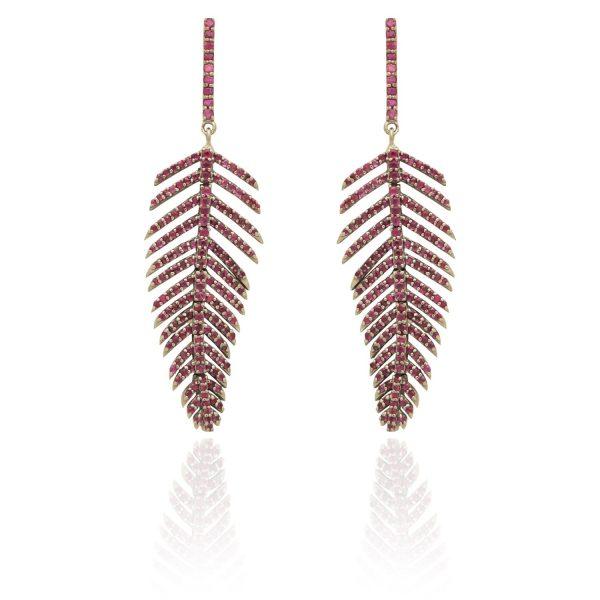 Fluid Ruby Leaf Earrings by Kastur Jewels