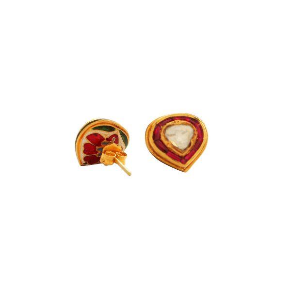 Heritage Diamond, Ruby and Enamel Stud Earrings by Kastur Jewels