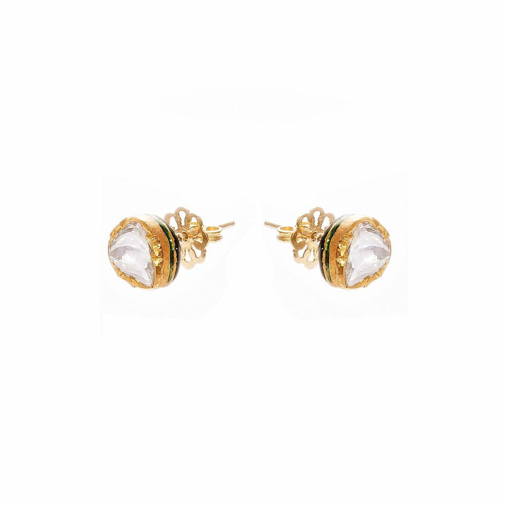 Jodha Bai Diamond Stud Earrings by Kastur Jewels
