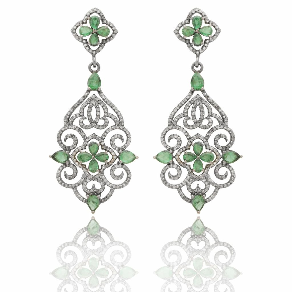 Palace Cocktail Emerald and Diamond Earrings by Kastur Jewels