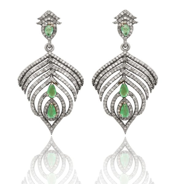 Peacock Feather Emerald and Diamond Earrings by Kastur Jewels