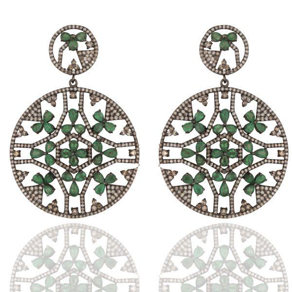 Statement Emerald and Diamond Mandala Earrings by Kastur Jewels