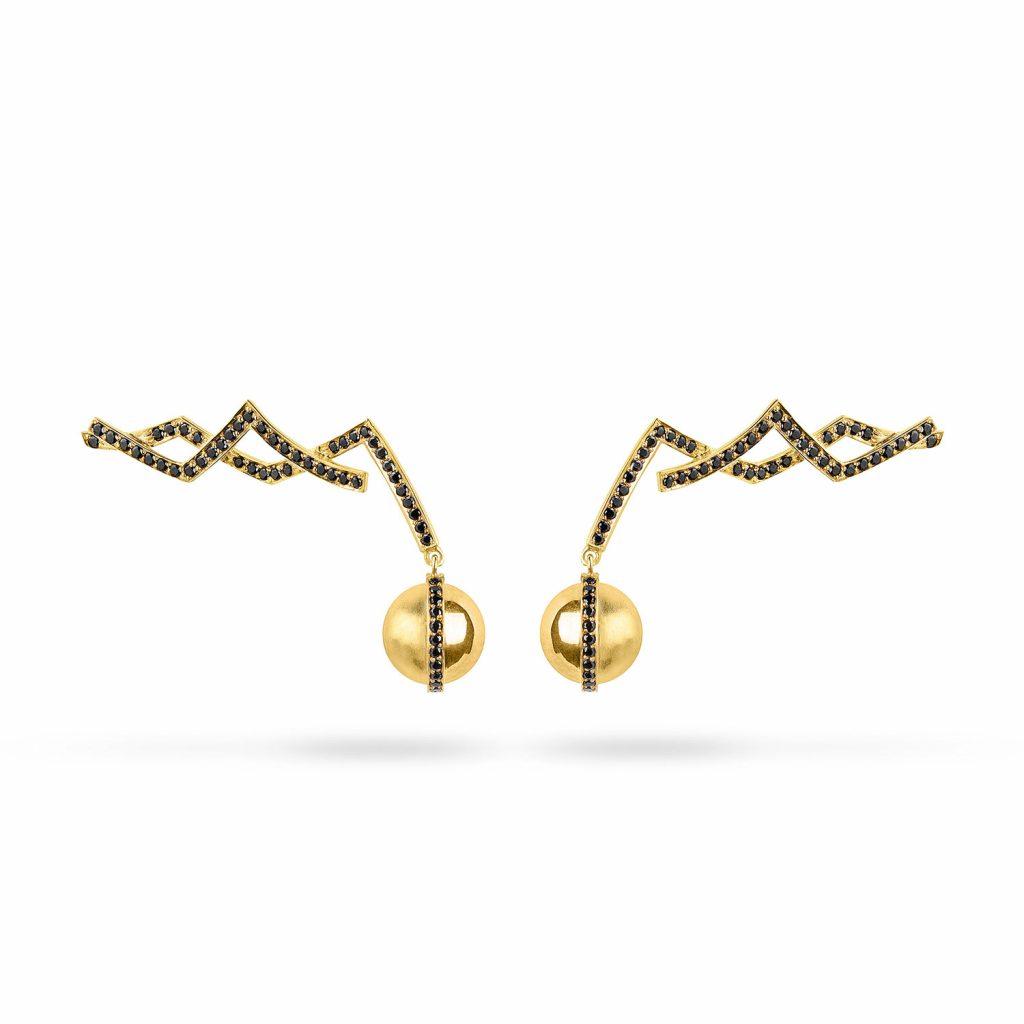 Corset Lace Orb Earrings by Zydrune