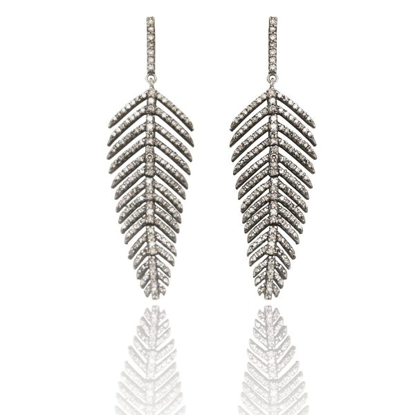 Fluid Diamond Leaf Earrings by Kastur Jewels