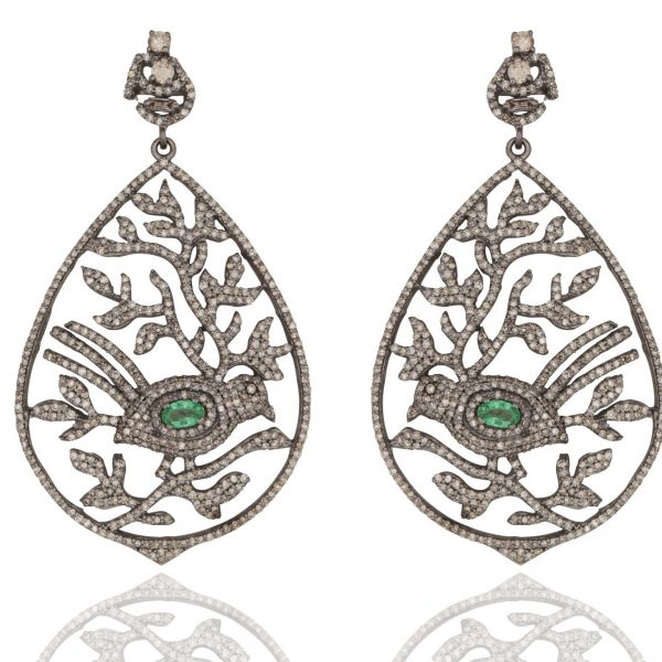 Emerald and Diamond Bird Leaf Cocktail Earrings by Kastur Jewels