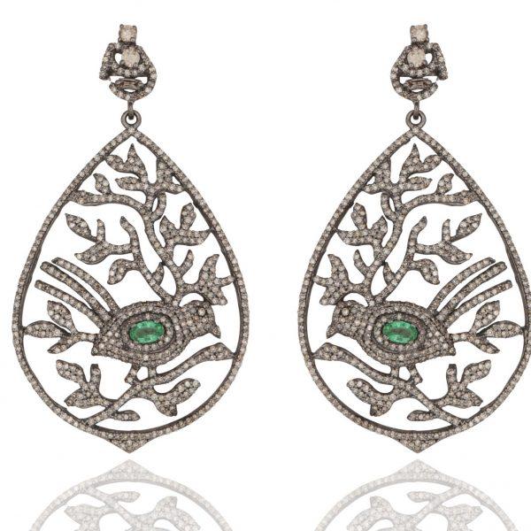 Emerald and Diamond Bird Leaf Cocktail Earrings by Kastur Jewels