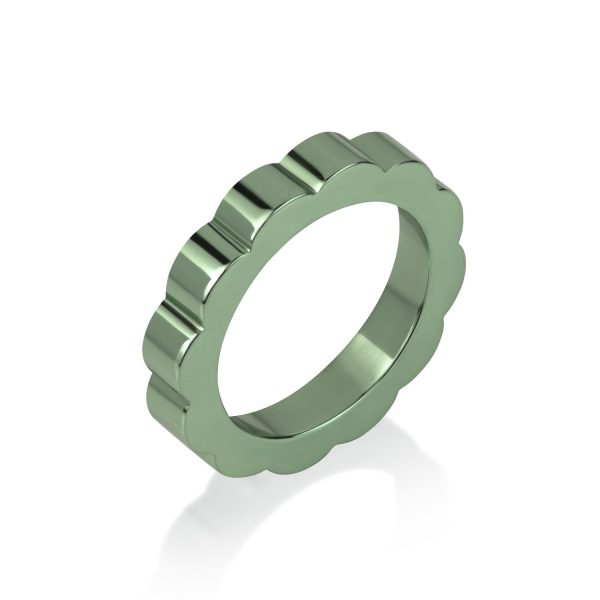 Shakti Glow Stacking Ring in Parrot Green by Flora Bhattachary
