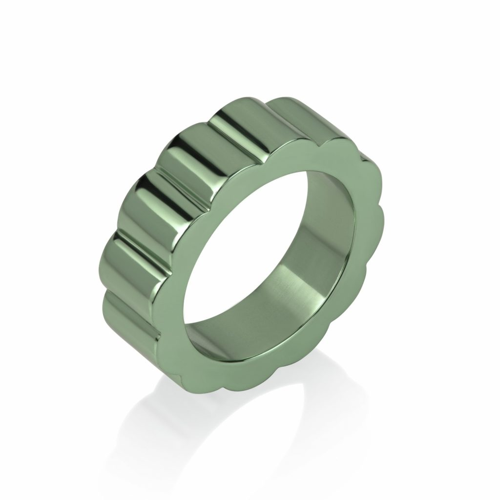 Shakti Glow Wide Ring in Parrot Green by Flora Bhattachary