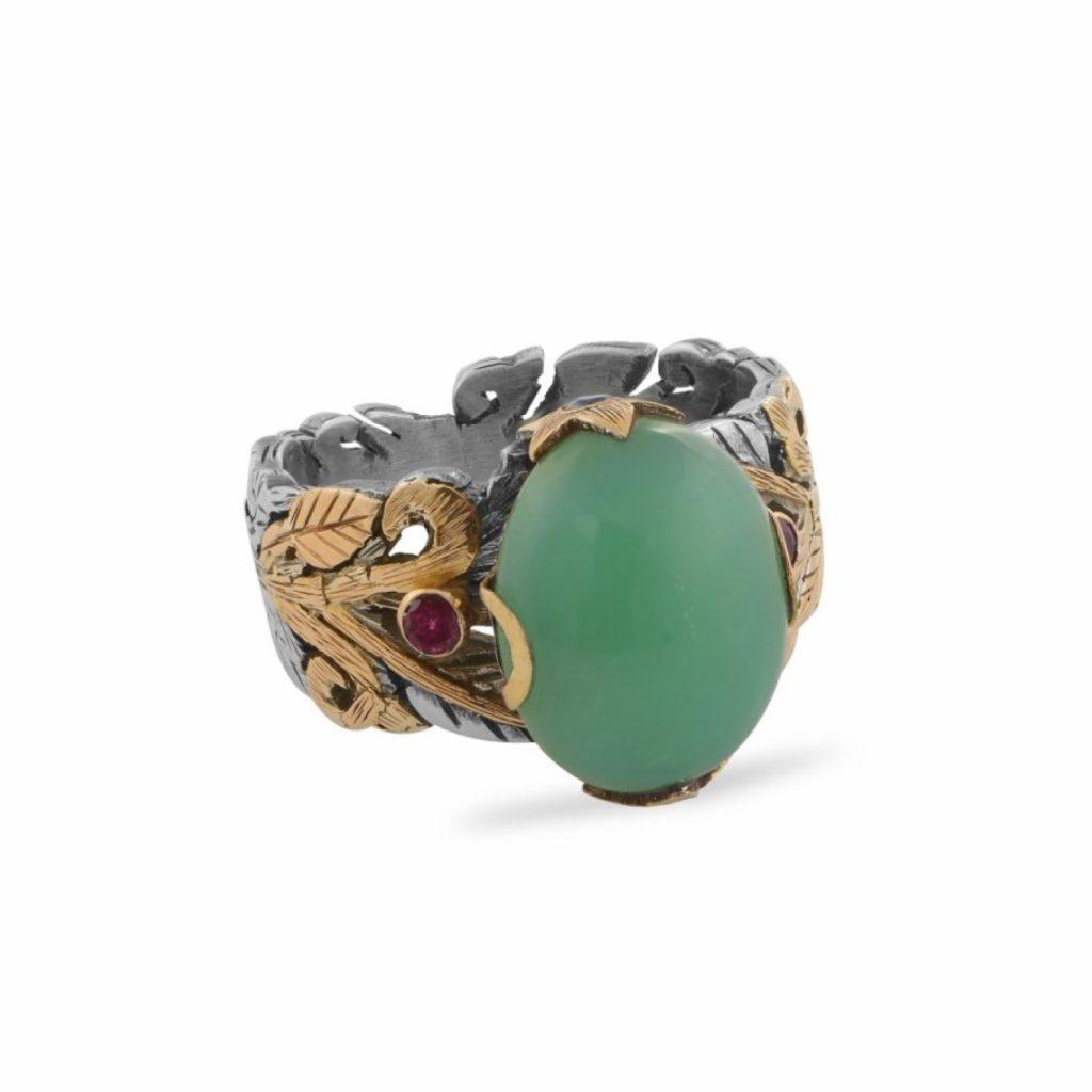 Ambar Chrysoprase Ruby Ring by Emma Chapman Jewels