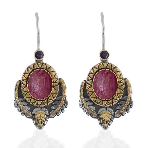 Brielle Star Ruby Sapphire Earrings by Emma Chapman Jewels