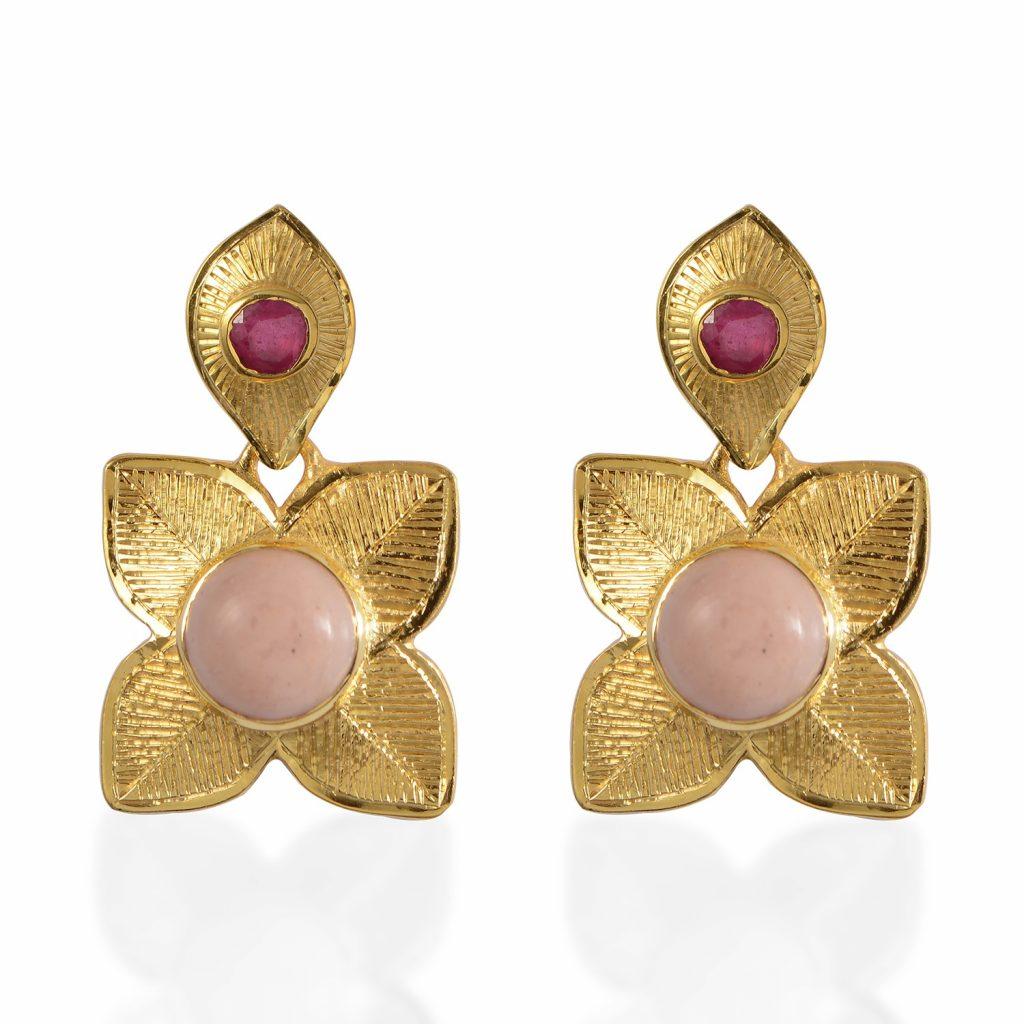 Harlow Pink Opal Ruby Earrings by Emma Chapman Jewels