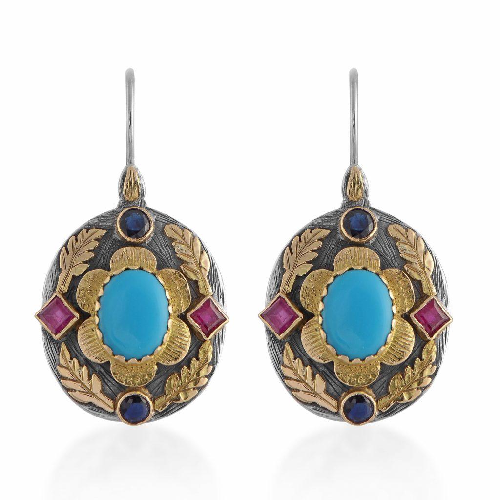 Ishana Turquoise Ruby Sapphire Earrings by Emma Chapman Jewels