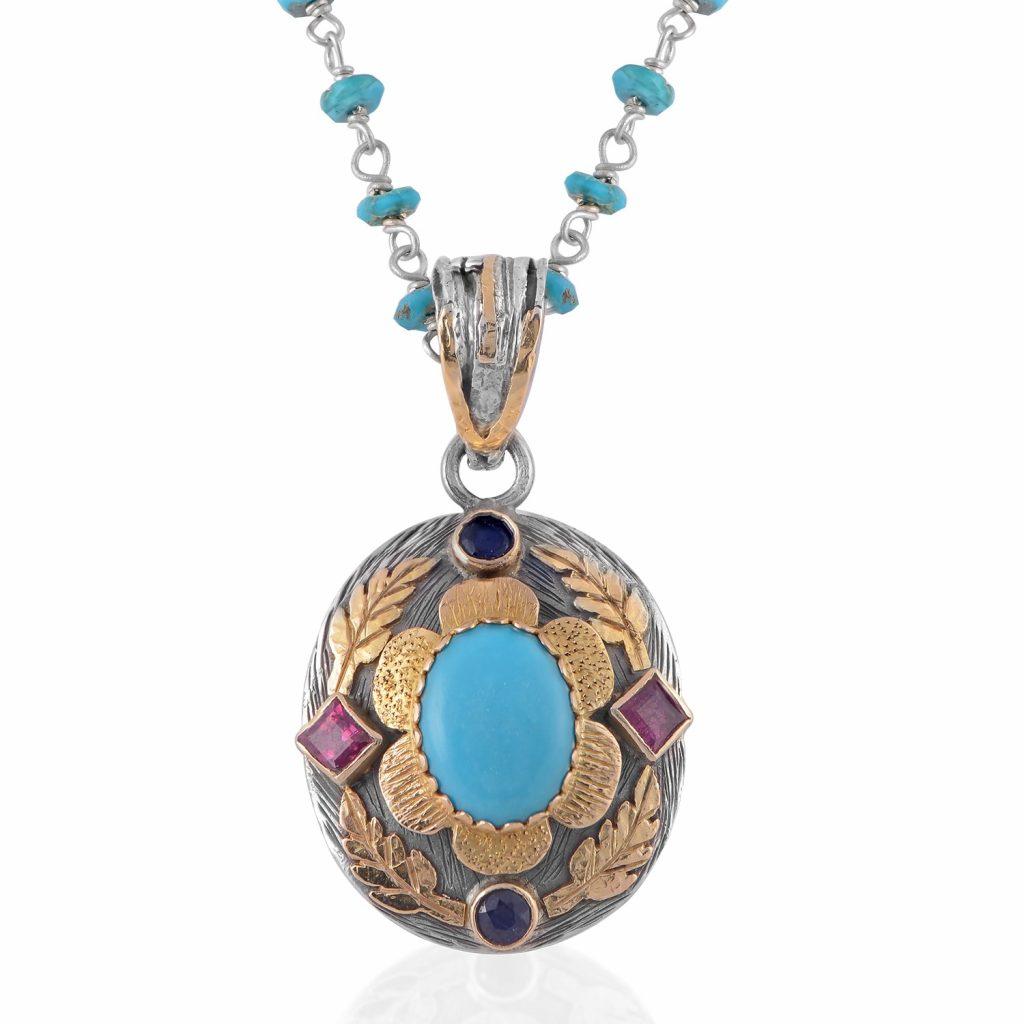 Ishana Turquoise Ruby Sapphire Pendant by Emma Chapman Jewels