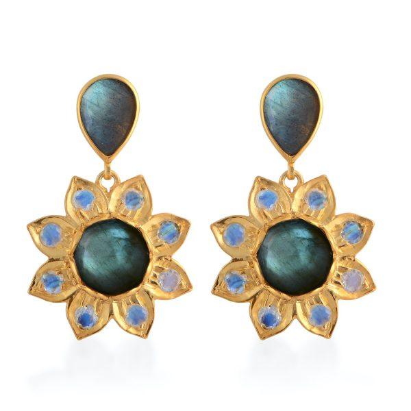 Nova Labradorite Moonstone Earrings by Emma Chapman Jewels