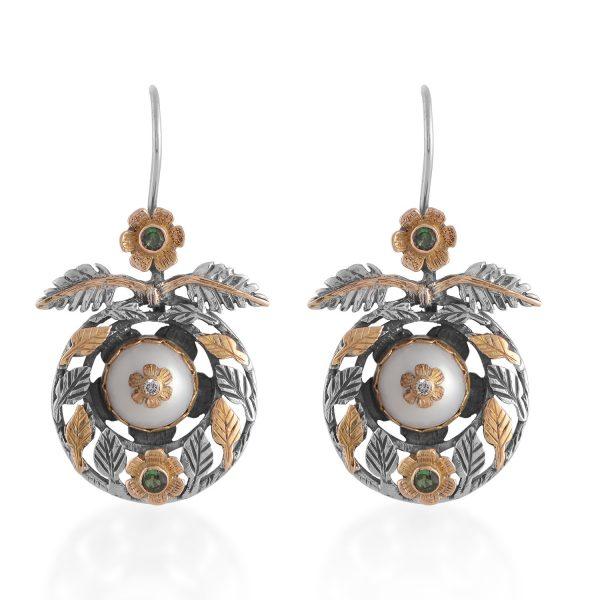 Oriana Pearl Diamond Tsavorite Earrings by Emma Chapman