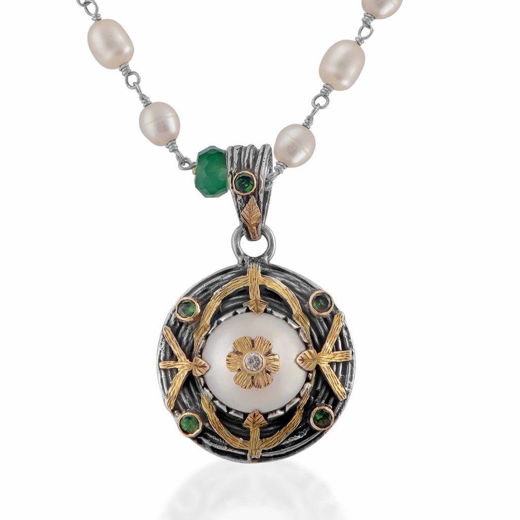 Oriana Pearl Tsavorite Diamond Pendant by Emma Chapman Jewels